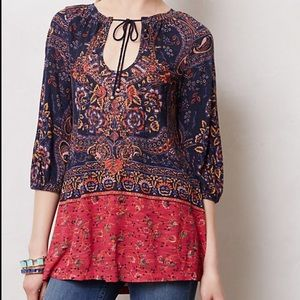 NWT Anthropologie Blushed Paisley Peasant Tunic
